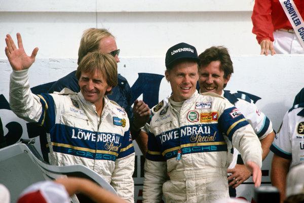 Watkins Glen, New York, USA. 7th July 1985. Rd 10. Al Holbert/Derek Bell (Porsche 962), 1st position, action. World Copyright: LAT Photographic. Ref:  85IMSA WG02