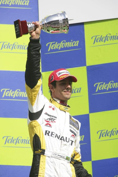 2007 GP2 Series. Round 2. Sunday RaceBarcelona, Spain. 13th May 2007. Lucas di Grassi (BRA, ART Grand Prix) on the podium.World Copyright: Andrew Ferraro/GP2 Series Media Sevice  ref: Digital Image ZP9O7184