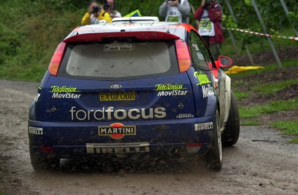 Colin McRae (GBR) / Nicky Grist (GBR) Ford Focus RS WRC 02.World Rally Championship, Rd10, Shakedown, ADAC Rallye Deutschland, Trier, Germany. 22 August 2002.DIGITAL IMAGE
