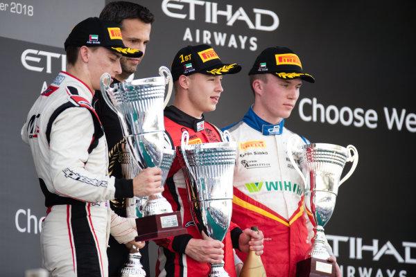 Jake Hughes (GBR, ART Grand Prix) Nikita Mazepin (RUS, ART Grand Prix) and Simo Laaksonen (FIN, Campos Racing)