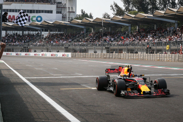 Race winner Max Verstappen (NED) Red Bull Racing RB13 takes the chequered flag at Formula One World Championship, Rd18, Mexican Grand Prix, Race, Circuit Hermanos Rodriguez, Mexico City, Mexico, Sunday 29 October 2017.