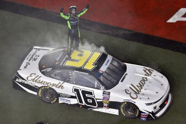 #16: Ross Chastain, Kaulig Racing, Chevrolet Camaro Ellsworth Advisors celebrates his win