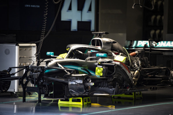 The car of Lewis Hamilton, Mercedes AMG F1 W10, under construction in the garage