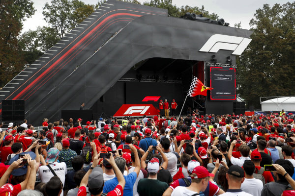 Sebastian Vettel, Ferrari and Charles Leclerc, Ferrari on stage in the fan zone