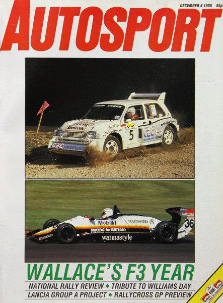 Cover of Autosport magazine, 4th December 1986