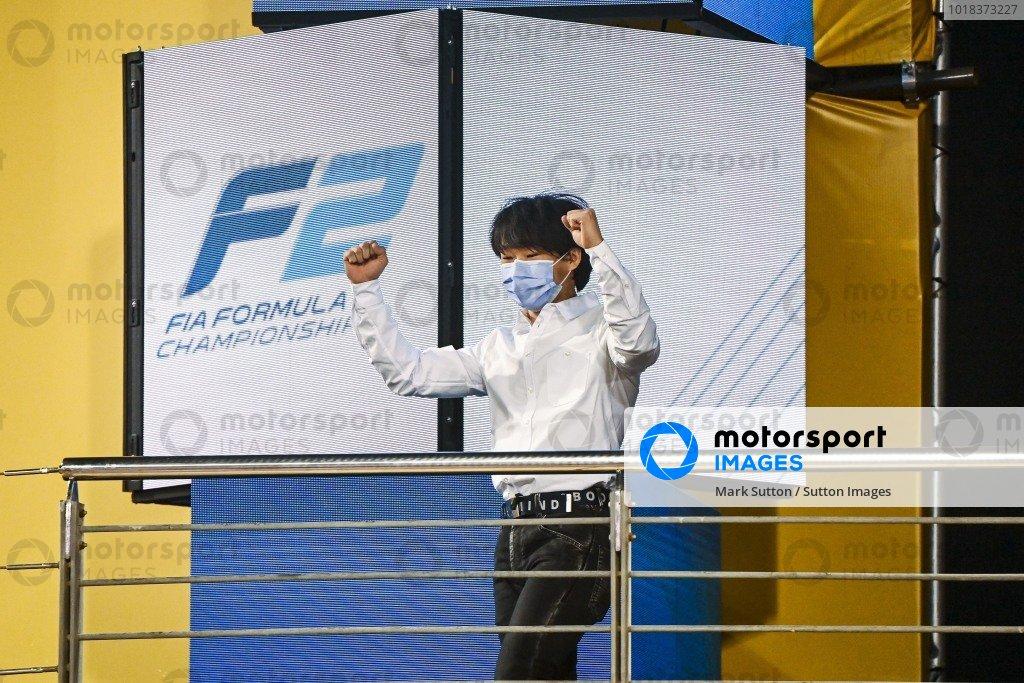 F2 Championship 3rd position Yuki Tsunoda (JPN, CARLIN) celebrates on the podium