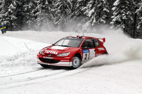 2003 FIA World Rally Championship. Karlstad, Sweden. Rd2.6-9 February 2003.Richard Burns/Robert Reid (Peugeot 206 WRC) 3rd position.World Copyright: McKlein/LAT Photographic