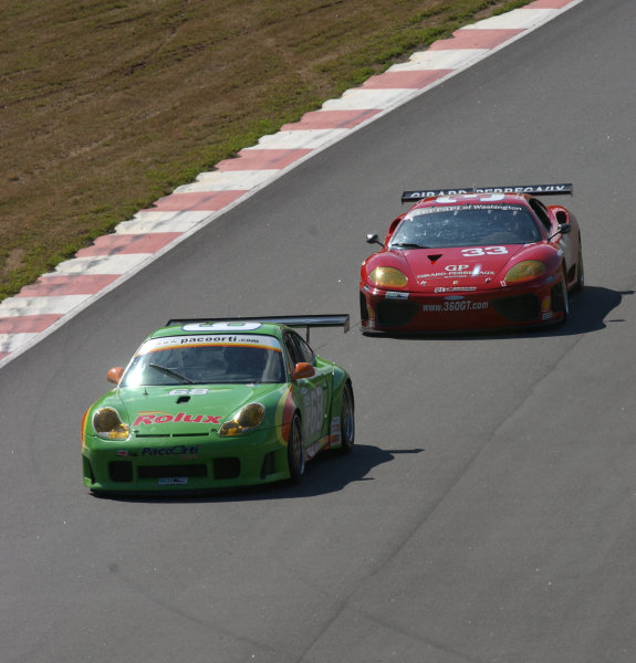 2002 Mont- Tremblant 6hr. Grand Am, Tremblant, CanadaSeptember 2002Wolfgang Kaufman's Porsche GT3R fights to stay ahead of Bill Auberlen in the Ferrari 360 GT.C:2002, Douglas Phillips, USALAT Photographic