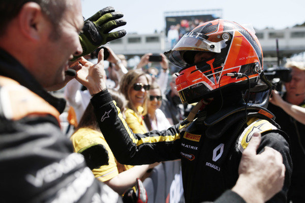 Jack Aitken (GBR, CAMPOS RACING) celebrates in Parc Ferme after winning the race