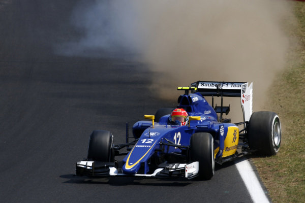Felipe Nasr (BRA) Sauber C34 kicks up the dirt at Formula One World Championship, Rd10, Hungarian Grand Prix, Qualifying, Hungaroring, Hungary, Saturday 25 July 2015. BEST IMAGE