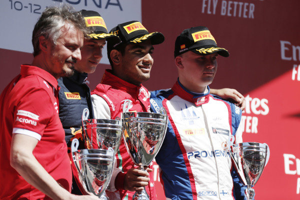 Jehan Daruvala (IND) PREMA Racing, celebrates after winning the race