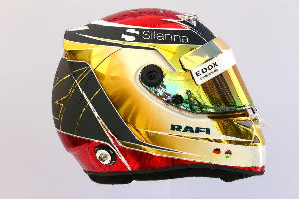 The helmet of Pascal Wehrlein (GER) Sauber at Formula One World Championship, Rd1, Australian Grand Prix, Preparations, Albert Park, Melbourne, Australia, Thursday 23 March 2017.