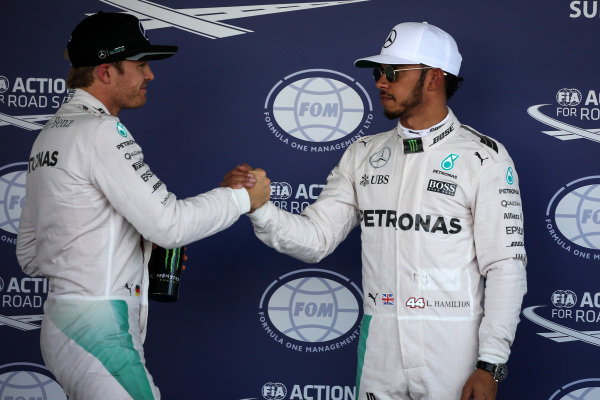 Nico Rosberg (GER) Mercedes AMG F1 and pole sitter Lewis Hamilton (GBR) Mercedes AMG F1 celebrate in parc ferme at Formula One World Championship, Rd19, Mexican Grand Prix, Qualifying, Circuit Hermanos Rodriguez, Mexico City, Mexico, Saturday 29 October 2016.