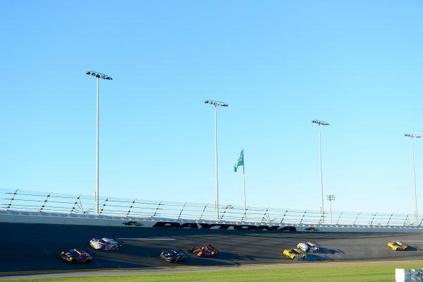 22-25 January, 2015, Daytona Beach, Florida USA 73, Porsche, 911 GT America, GTD, Patrick Lindsey, Spencer Pumpelly, Jim Norman, David Ducote, Kevin Estre leads a pack of cars thru NASCAR corner 2. ©2015, Richard Dole LAT Photo USA