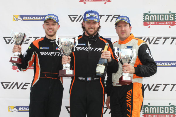 Ginetta GT4 Supercup, Silverstone, 17th-18th September 2016, Podium, Will Burns (GBR) Douglas Motorsport Ginetta G55, Jamie Orton (GBR) Triple M Motorsport Ginetta G55, Carl Boardley (GBR) Carl Boardley Motorsport Ginetta G55. World Copyright. Ebrey/LAT Photographic