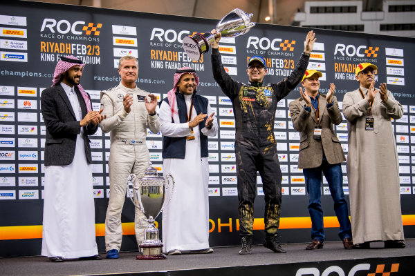 2018 Race Of Champions King Farhad Stadium, Riyadh, Abu Dhabi. Saturday 3 February 2018 Runner up Petter Solberg (NOR) is presented with his trophy. Copyright Free FOR EDITORIAL USE ONLY. Mandatory Credit: 'Race of Champions'