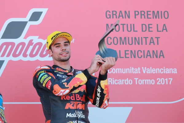 2017 Moto2 Championship - Round 18 Valencia, Spain  Sunday 12 November 2017 Podium: Race winner Miguel Oliveira, Red Bull KTM Ajo  World Copyright: Gold and Goose Photography/LAT Images  ref: Digital Image 706495