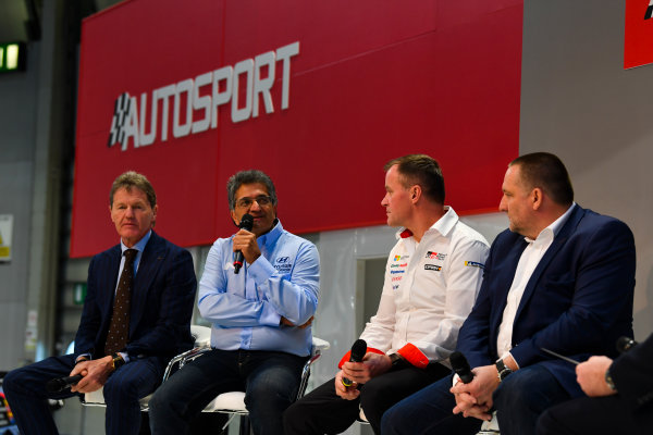 Autosport International Exhibition. National Exhibition Centre, Birmingham, UK. Thursday 11th January 2018. Malcolm Wilson, Michel Nandan, Tommi Makinen and Yves Matton talk to Henry Hope-Frost on the Autosport Stage. World Copyright: Mark Sutton/Sutton Images/LAT Images Ref: DSC_6608