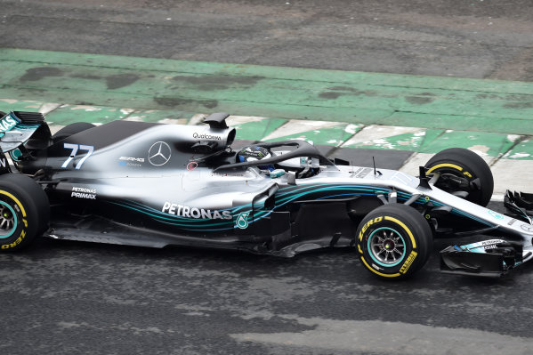 Mercedes-AMG F1 W09 EQ Power+ Launch and First Run Silverstone, England, 22 February 2018. Valtteri Bottas (FIN) Mercedes-AMG F1 W09 EQ Power. World Copyright: Simon Galloway/Sutton Images/LAT Images Photo ref: SUT_Mercedes_AMG_F_1567653