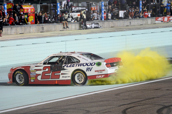 NASCAR XFINITY Series Ford EcoBoost 300 Homestead-Miami Speedway, Homestead, FL USA Saturday 18 November 2017 Sam Hornish Jr, REV/Fleetwood RV Ford Mustang, does a burnout after winning the Owners Championship for Penske Racing. World Copyright: John K Harrelson LAT Images