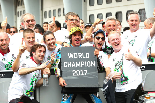2017 Moto2 Championship - Round 17 Sepang, Malaysia. Sunday 29 October 2017 Third place and champion Franco Morbidelli, Marc VDS World Copyright: Gold and Goose / LAT Images ref: Digital Image 26782