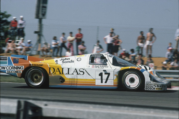Le Mans, France. 16th -17th  June 1984.Tiff Needell/David Sutherland/Rusty French (Porsche 956), 9th position, action. World Copyright: LAT Photographic.Ref:  84LM