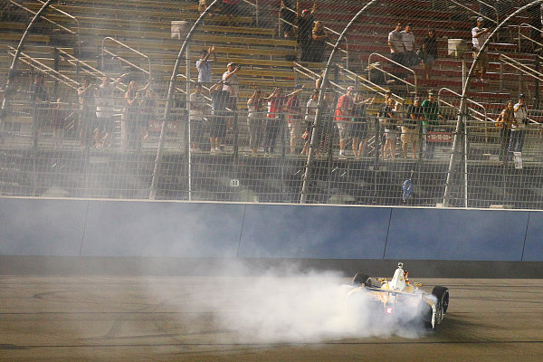 14-15, September, 2012, Fontana, California, USARyan Hunter-Reay does donuts after winning the 2012 IndyCar Championship.(c) 2012, Perry NelsonLAT Photo USA