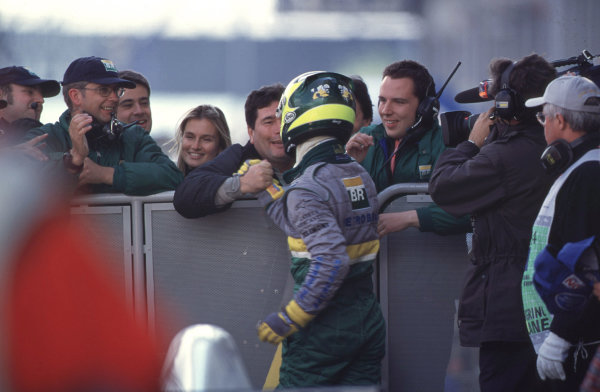 International Formula 3000 Championship Nurburgring, Germany. 19th - 20th May 2000 Race winner Bruno Junqueira is congratulated by his team mates World - Bellanca/LAT Photographic