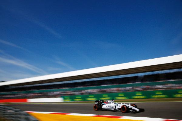 Silverstone, Northamptonshire, England. Friday 03 July 2015. Felipe Massa, Williams FW37 Mercedes. World Copyright: Glenn Dunbar/LAT Photographic. ref: Digital Image _W2Q2875