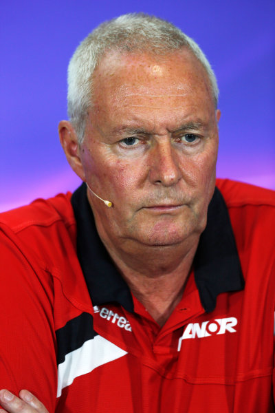 Silverstone Circuit, Northamptonshire, England. Friday 3 July 2015. John Booth, Team Principal, Manor Marussia F1, in the team principals Press Conference. World Copyright: Andrew Ferraro/LAT Photographic ref: Digital Image _FER2014