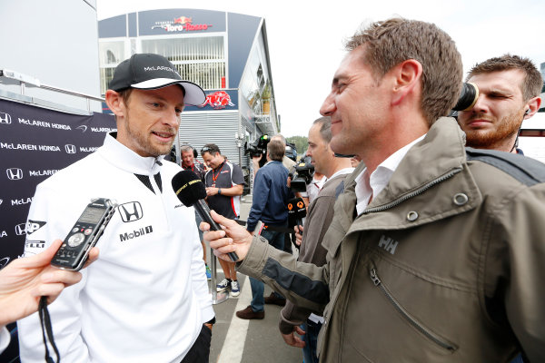 Red Bull Ring, Spielberg, Austria. Thursday 18 June 2015. Jenson Button, McLaren, talks to the press. World Copyright: Alastair Staley/LAT Photographic. ref: Digital Image _79P6354