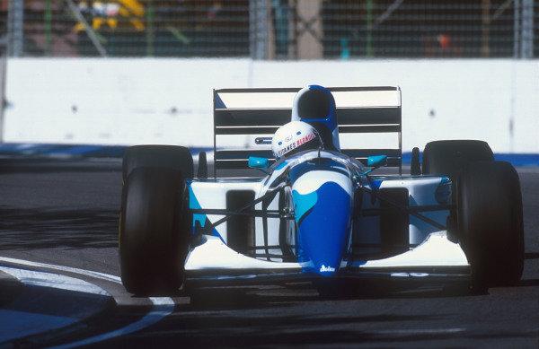1993 Australian Grand Prix.Adelaide, Australia.5-7 November 1993.Martin Brundle (Ligier JS39 Renault) 6th position in his Gitanes Blondes liveried art car.Ref-93 AUS 20.World Copyright - LAT Photographic