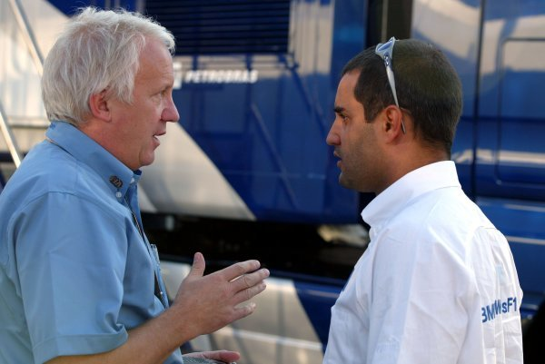 (L to R): Charlie Whiting (GBR) FIA Race Director and Safety Delegate talks with Juan Pablo Montoya (COL) Williams.