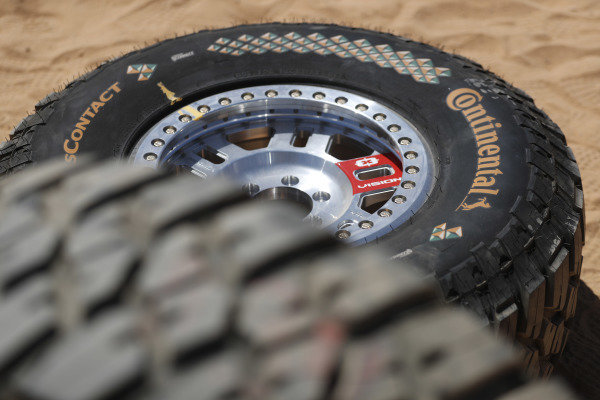 Extreme E wheel and tyre detail.