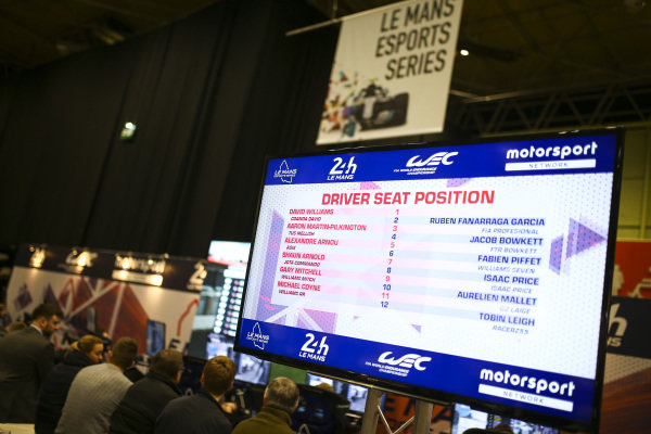 The Le Mans 24 Hour, WEC, Esports simulator stand.