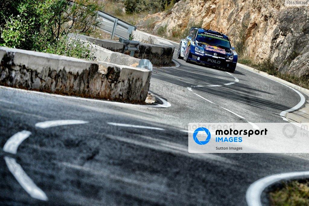 Sebastien Ogier (FRA) / Julien Ingrassia (FRA), Volkswagen Polo R WRC at FIA World Rally Championship, Rd12, RAAC Rally de Espana, Day Two, Costa Daurada, Catalunya, Spain, 24 October 2015.