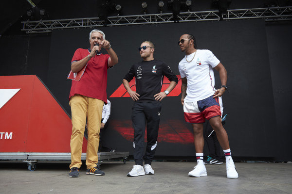 Valtteri Bottas, Mercedes AMG F1 and Lewis Hamilton, Mercedes AMG F1 on stage in the fan zone
