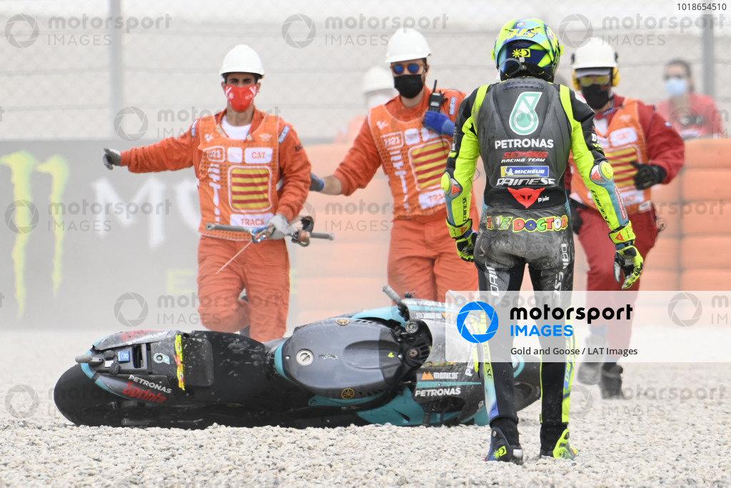 Valentino Rossi, Petronas Yamaha SRT crash.