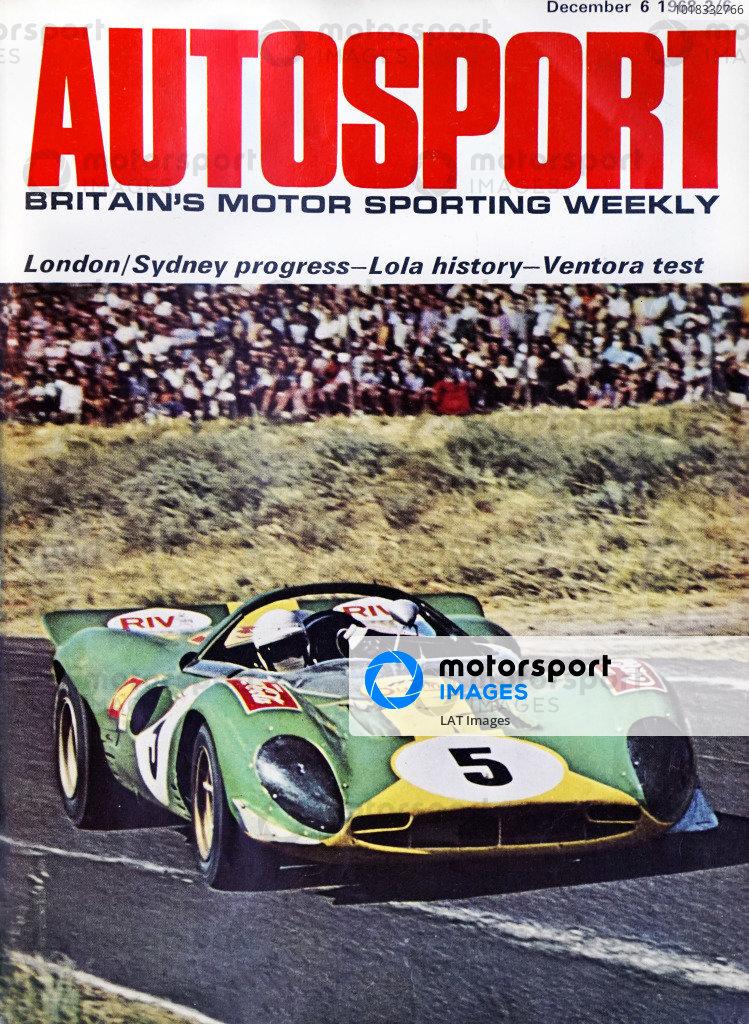 Cover of Autosport magazine, 6th December 1968