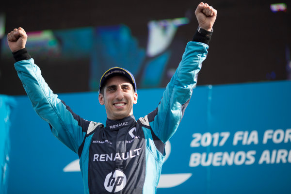 2016/2017 FIA Formula E Championship. Buenos Aires ePrix, Buenos Aires, Argentina. Saturday 18 February 2017 Sebastien Buemi (9, Renault e.dams) celebrates on the podium. Photo: Alastair Staley/LAT/Formula E ref: Digital Image 580A7507