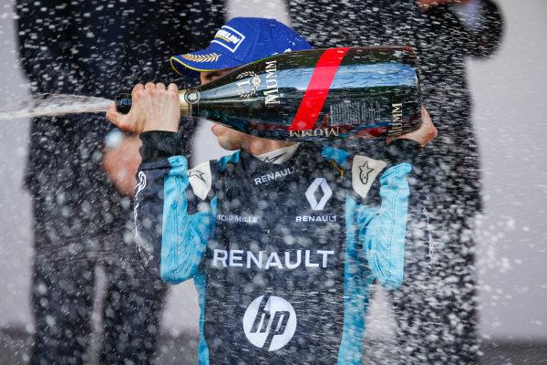 2016/2017 FIA Formula E Championship. Monte-Carlo, Monaco Saturday 13 May 2017. Sebastien Buemi (SUI), Renault e.Dams, Spark-Renault, Renault Z.E 16, sprays the champagne on the podium. Photo: Alastair Staley/LAT/Formula E ref: Digital Image _X0W1371