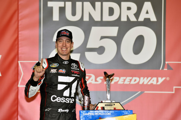 NASCAR Camping World Truck Series Toyota Tundra 250 Kansas Speedway, Kansas City, KS USA Friday 12 May 2017 Kyle Busch, Cessna Toyota Tundra celebrates his win in Victory Lane World Copyright: Nigel Kinrade LAT Images ref: Digital Image 17KAN1nk07223