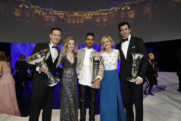 FIA Prize Giving Versailles, France. December 8, 2017. Lewis Hamilton with S?bastien Ogier, Toto and Suzie Wolff  during the FIA Prize Giving at Versailles.  World Copyright: Frederic Le Floc'h / DPPI / FIA Image ref: Digital image auto---fia-prize-giving---versailles-2017_38217044324_o