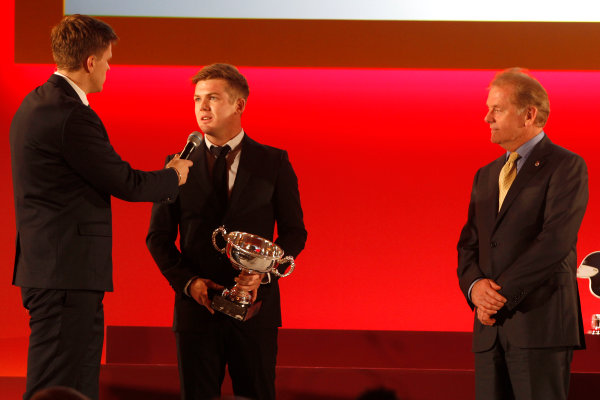 2015 British Racing Drivers Club Awards Grand Connaught Rooms, London Monday 7th December 2015 Nick Cassidy and Jonathan Palmer on stage receiving the Bruce McLaren Trophy. World Copyright: Jakob Ebrey/LAT Photographic ref: Digital Image Cassidy-01