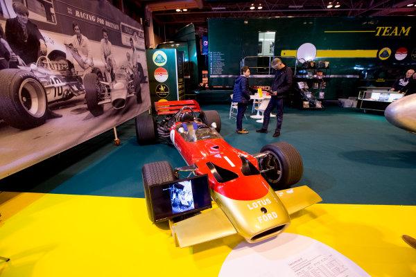 Autosport International Exhibition.  National Exhibition Centre, Birmingham, UK. Thursday 14 January 2016.  The Team Lotus stand. World Copyright: Zak Mauger/LAT Photographic. ref: Digital Image _L0U1266