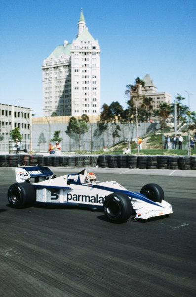 1983 United States Grand Prix West  Long Beach, California, USA. 25-27th March 1983.  Nelson Piquet, Brabham BT52 BMW, retired.  Ref: 83LB19. World copyright: LAT Photographic
