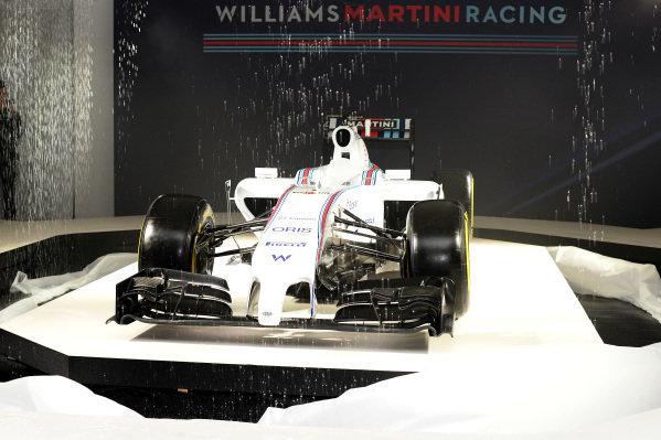The Williams Martini Racing liviried Williams FW36. Williams Martini Racing 2014 Team Launch, London, England, Thursday 6 March 2014.