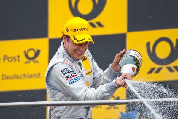 Dijon - Prenois, France. Sunday 11th October. Gary Paffett (Salzgitter AMG Mercedes C-Klasse) celebrates his victory on the podium. World Copyright: Alastair Staley/LAT Photographic.Ref: _O9T0715 jpg