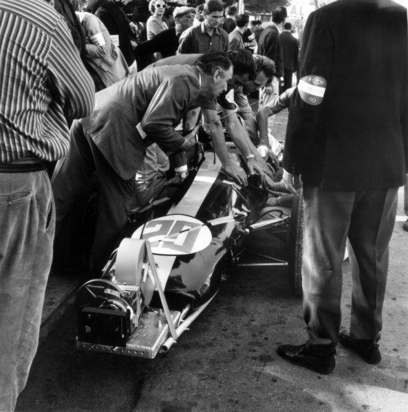 "1966 Monaco Grand Prix.Monte Carlo, Monaco. 22 May 1966.Phil Hill, Lotus 25-Climax, did not start, camera car for the film ""Grand Prix"", action.World Copyright: LAT PhotographicRef: 34006"