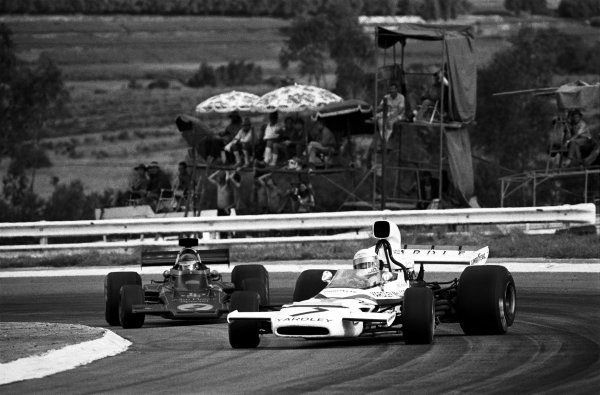 Kyalami, South Africa. 3rd March 1973. Jody Scheckter (McLaren M19C-Ford), retired, leads Ronnie Peterson (Lotus 72D-Ford Cosworth), retired, action.  World Copyright: LAT Photographic. Ref:  B/W Print